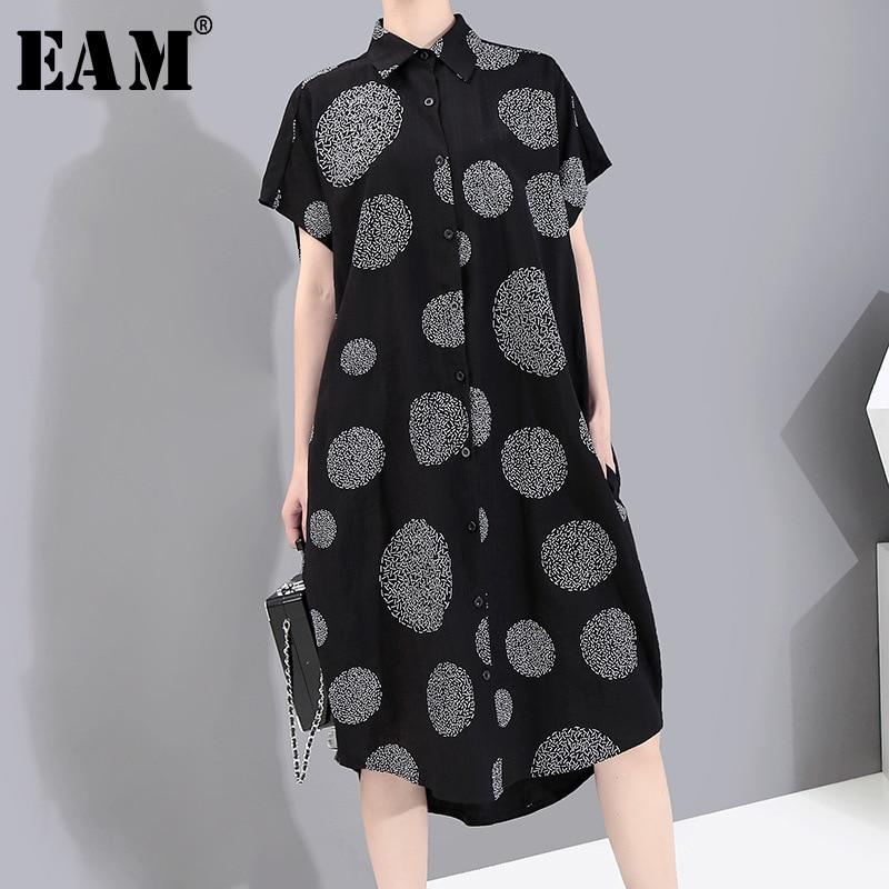 [EAM] Women Black Pattern Printed Big Size Shirt Dress New Lapel Short Sleeve Loose Fit Fashion Tide Spring Summer 2020 1Y139