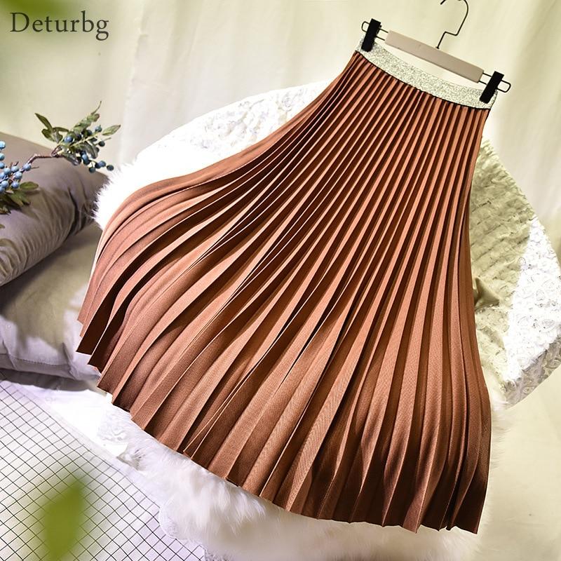 Womens Elegant Solid Color Midi Skirt Ladies Korean High Waist Pleated Thick A-Line Skirts Faldas Jupe Saias Spring Autumn SK486