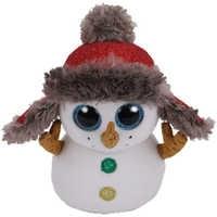 Ty-muñeco de nieve de 15cm con botones, muñeco de nieve de Navidad, juguete de colección de relleno de animales de ojos grandes