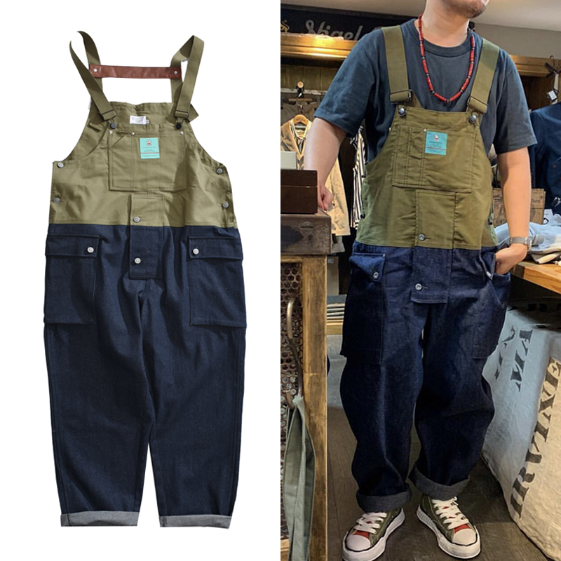 Contrast Stitch Bib Overalls Trousers Mens Safari Cargo Work Pants Functional Multiple Pockets Denim Pant Coveralls Men Jeans