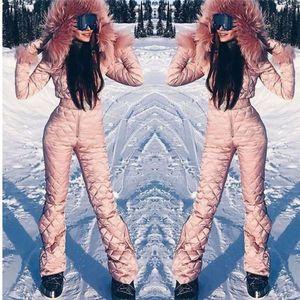 Fleece One Piece Ski Suit Women Snow Overalls Mountain Skiing Jumsuit Super Warm Winter Ski Jacket Pants Breathable Snow Set