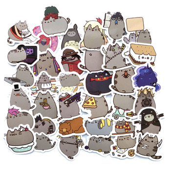 100Pcs/lot Cartoon Cat Stickers For Snowboard Laptop Luggage Car Fridge Car- Styling Vinyl Decal Home Decor Stickers image