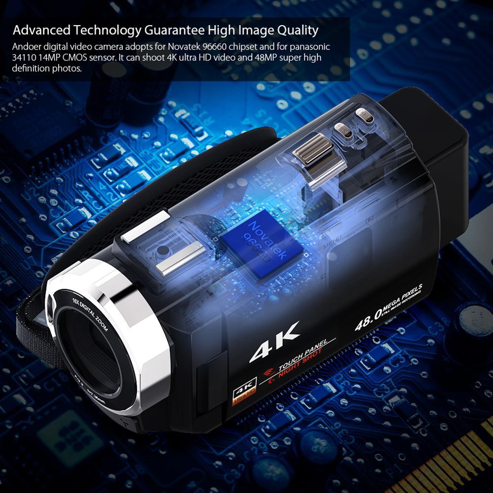 4K WiFi Ultra HD 1080P 48MP 16X ZOOM caméra vidéo numérique caméscope + Microphone + objectif grand Angle - 6