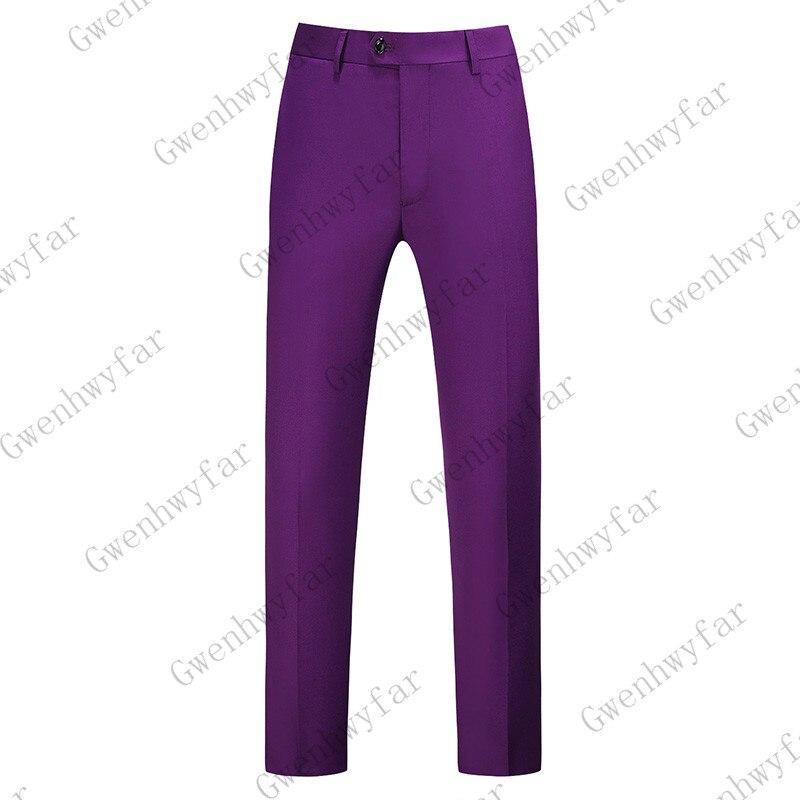 Gwenhwayfar, мужские синие клетчатые брюки, деловой костюм, брюки, деловые повседневные облегающие брюки, Классический Клетчатый костюм, брюки для свадьбы - Цвет: purple