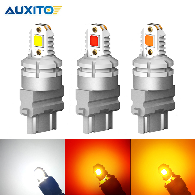 2X <font><b>T25</b></font> <font><b>LED</b></font> No Error 3157 3156 3057 3056 P27/7W CANBUS <font><b>LED</b></font> Bulbs 5050 SMD Car Rear Brake Lights Parking Lamp Amber White Red 12V image