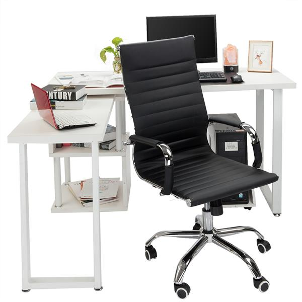FCH L-Shaped Computer Desk With Storage Shelf ,White And Black.  Easy Assembly Standing Desk Office Desk Study Table.