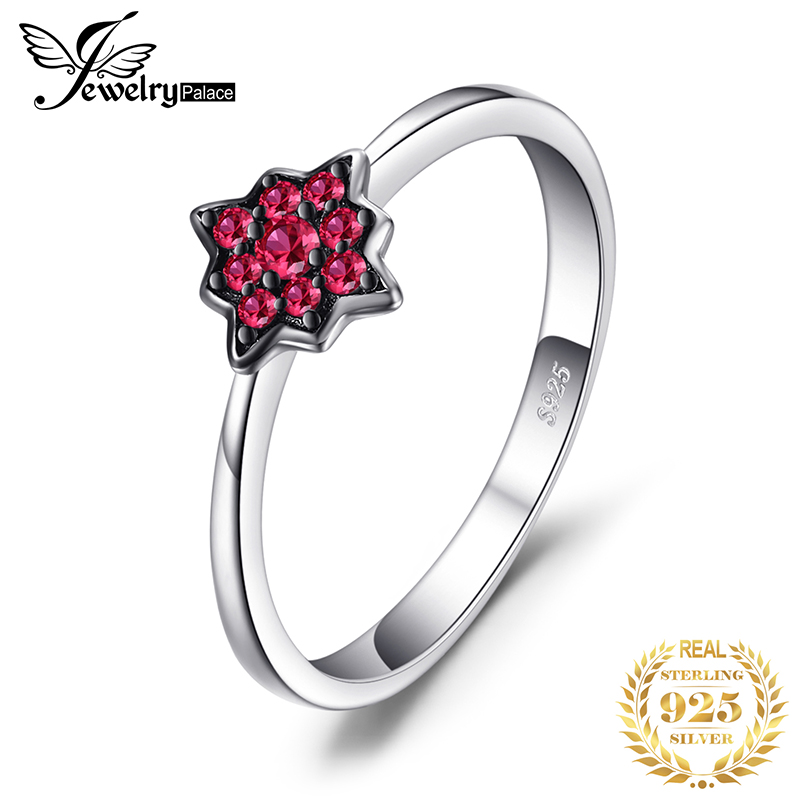 JewelryPalace Fashion Flowers Created Ruby Rings 100% Real 925 Sterling Silver Jewelry For Women Charms Party Accessories