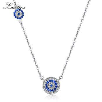 KALETINE Fashion 925 Sterling Silver Evil Eye Necklace Blue CZ Evil Eye Charm Long Women Necklace Pendants Link Chain KLTN042 - DISCOUNT ITEM  22 OFF Jewelry & Accessories