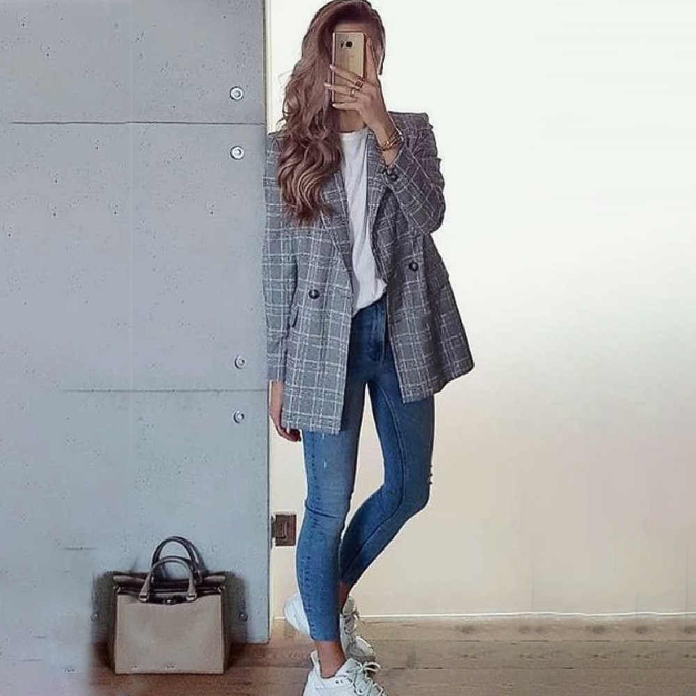 Vintage Women's Plaid Blazer Single Breasted Office Ladies Long Sleeve Jacket Female Notched Outerwear Woman Coats 2019 Autumn