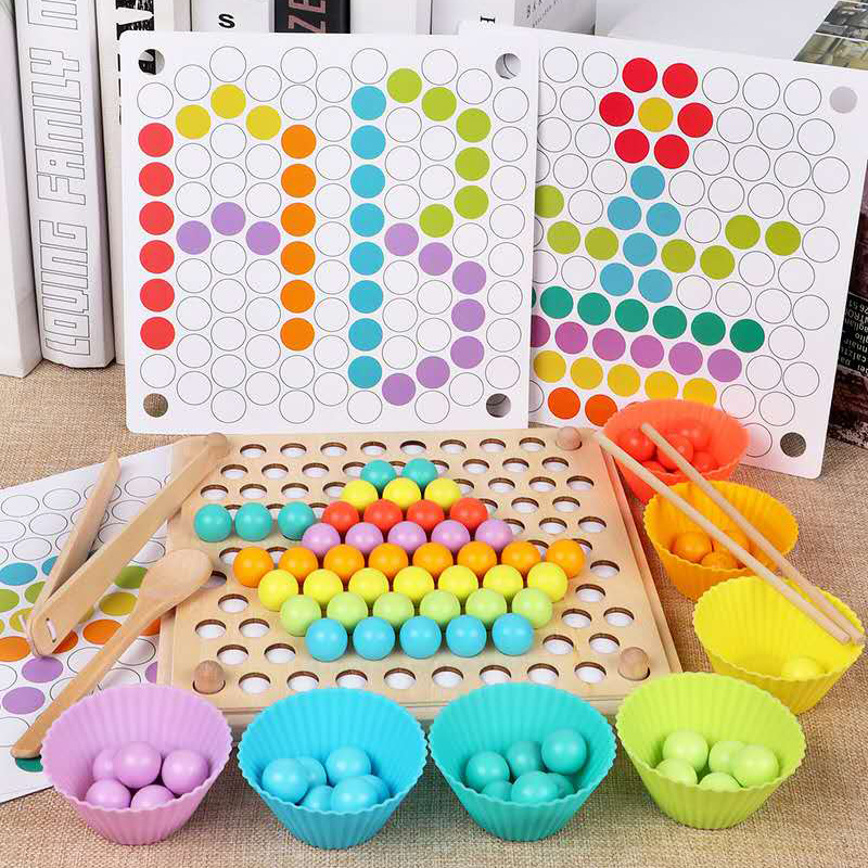 Kids Early Learning Educational Montessori Color Sorting Wooden Toys Hands Brain Training Clip Beads Math Toy Game For Children