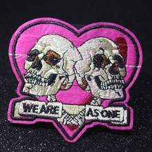 Pulaqi Rock Skull Patch DIY Embroidered for Clothing Iron On Applique Punk Heart Biker Fabric Badges Apparel Stripes F