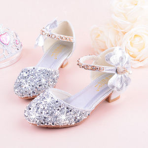 Image 3 - 2019 Girls Bow knot Princess Shoes With High heeled, Kids Glitter Dance Performance Summer Shoes, Purple , Pink & Silver 26 38