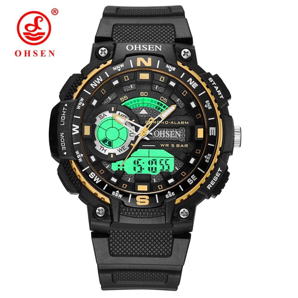 Relogio Masculino Sport Watch Men's Quartz LED Digital Watch Rubber Band Waterproof Shock Wristwatch OHSEN-AD1705
