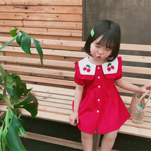 Summer Dresses for Girls Navy Style Rose Red Dress Cute Cherry Print Baby Girls Clothes Kids Lovely Short Sleeve Dress wholesale neat wholesale new baby girl clothes college style lovely girls dresses kids clothes long sleeve dress cartoon elephant sg006
