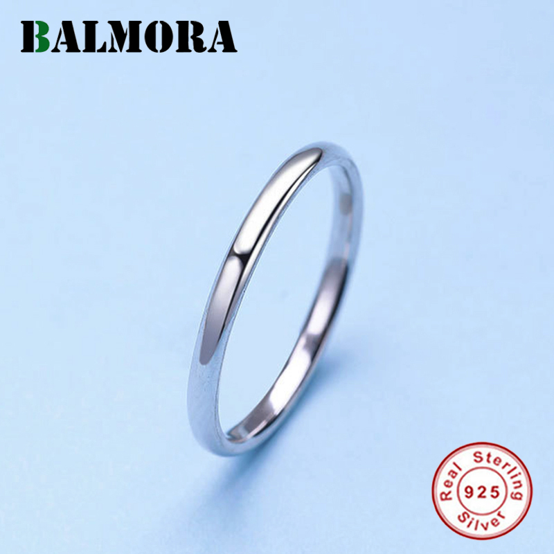 BALMORA <font><b>925</b></font> <font><b>Pure</b></font> <font><b>Silver</b></font> Elegant Simple Smooth Stackable <font><b>Rings</b></font> <font><b>for</b></font> <font><b>Women</b></font> Lady Combined Fashion Sweet Jewelry Anillos JR130346 image
