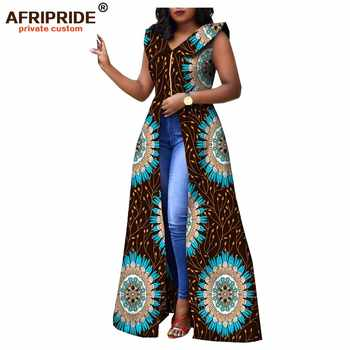 2019 african dresses for women AFRIPRIDE tailor made ankara print sleeveless floor length women casual cotton dress A1825088 - DISCOUNT ITEM  18% OFF All Category