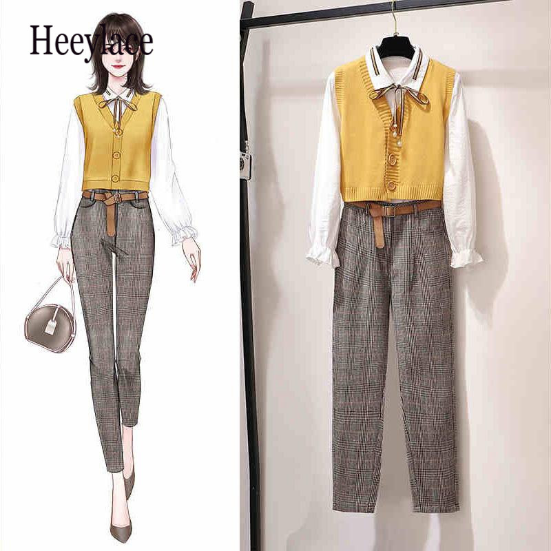 Vintage Yellow Girl 3 Piece Set Women Office Work Ladies Suits Fall Winter Outfits Casual Korean Style Vest Shirt Pants Set