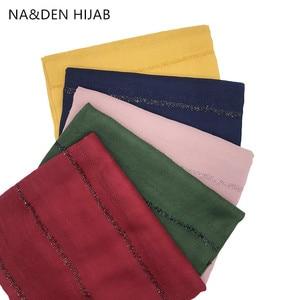 NEW Glitter long muffler Islamic scarf Ladies shimmer wraps Women scarves Solid plain shalws Muslim hijab Viscose 10pcs/lot(China)