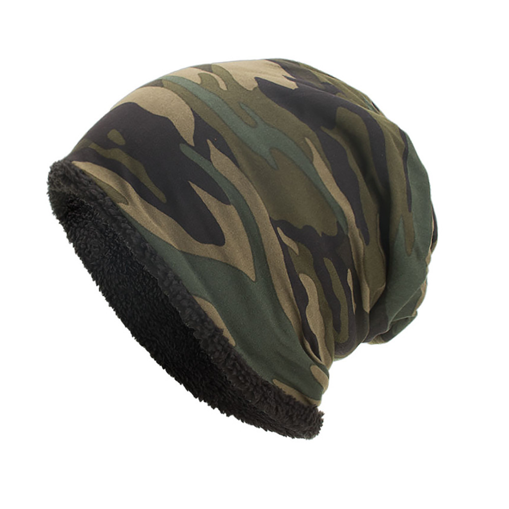 Men Hat Skull-Caps Winter Fashion Camouflage Women Beanie Warm Ski Crochet Wool Unisex title=
