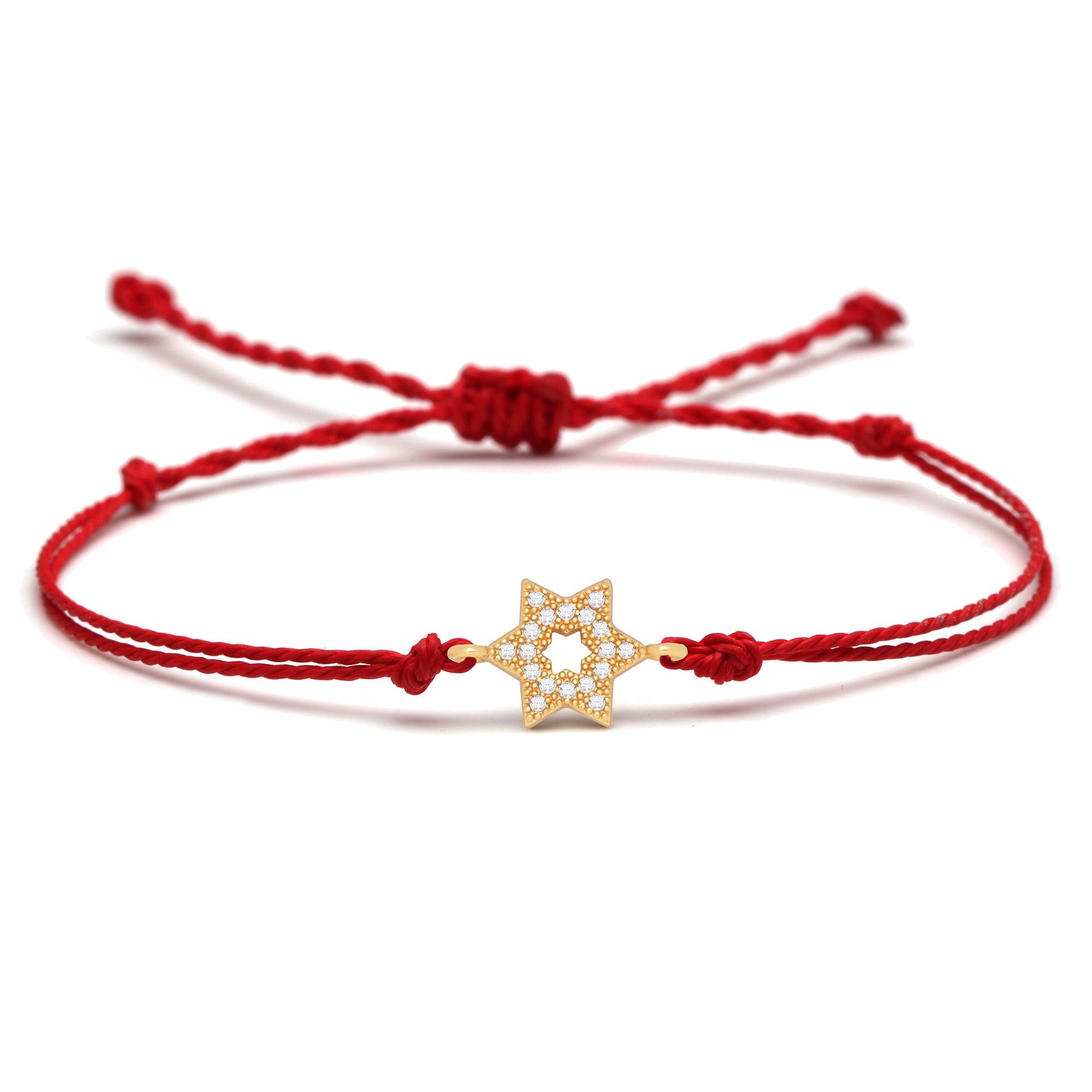 White Cubic Zirconia Crystal Jewish Stars Charm Bracelet Women Men Red Waxed String Kabalah Magen David Braided Jewelry Gift|Charm Bracelets| - AliExpress