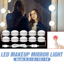 Usb макияж лампа 2 6 10 14 лампы dv 12v светодиодный зеркало