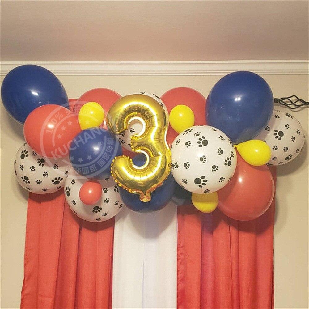 29 Stks/partij Poot Ballon Slinger Kit Hot Cartoon Hond Globos Verjaardagsfeestje Decoraties Kinderen Speelgoed Met 16 Inch Nummer Ballon