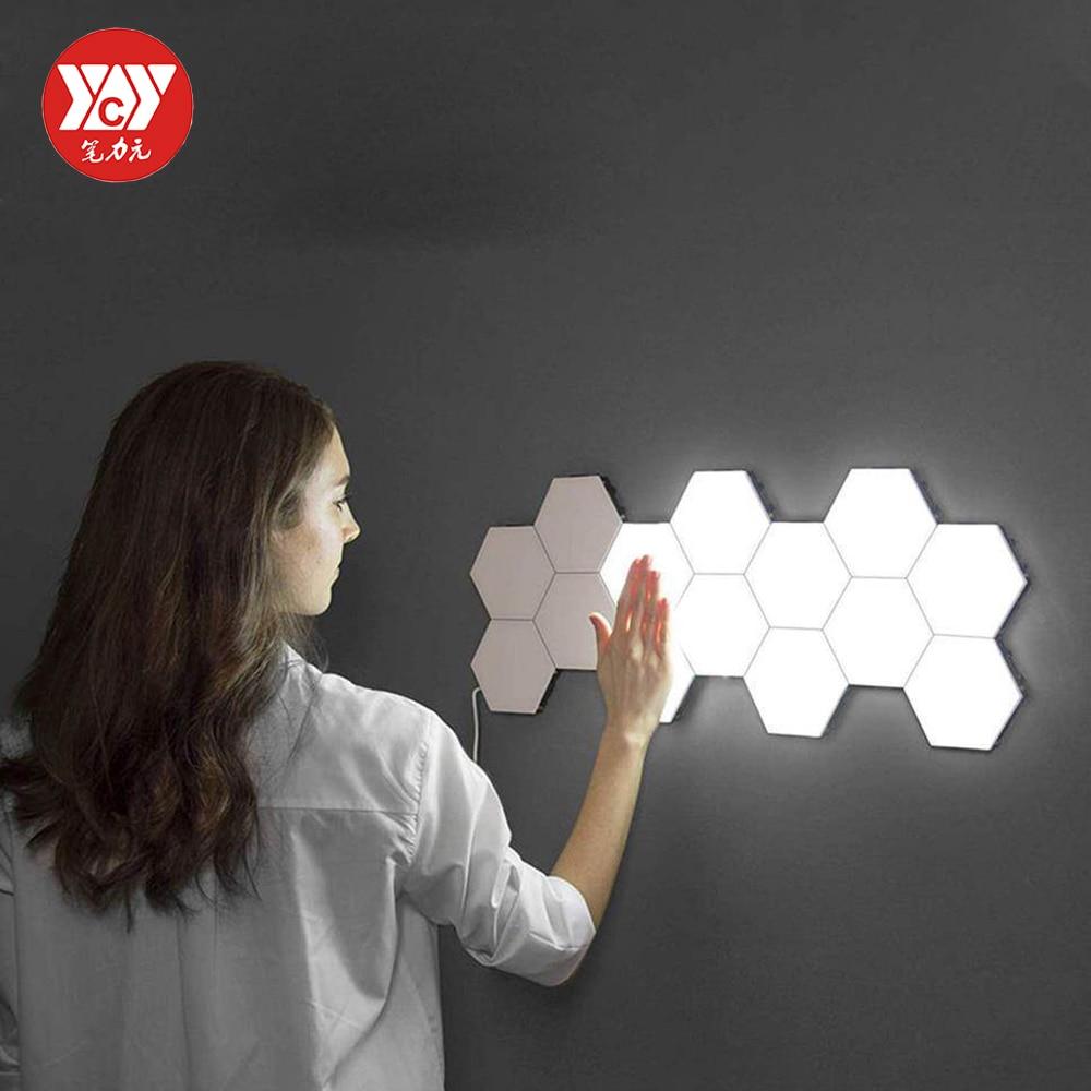 US/EU LED Quantum Lamp Hexagonal Modular Touch Sensitive Lighting Night Light Magnetic Hexagons Creative Decoration Wall Lampara