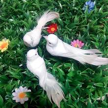 Artificial White Pigeon Plastic Feather Love Peace Doves Bird Simulation Figurines Home Table Garden Hanging Decorations Gifts