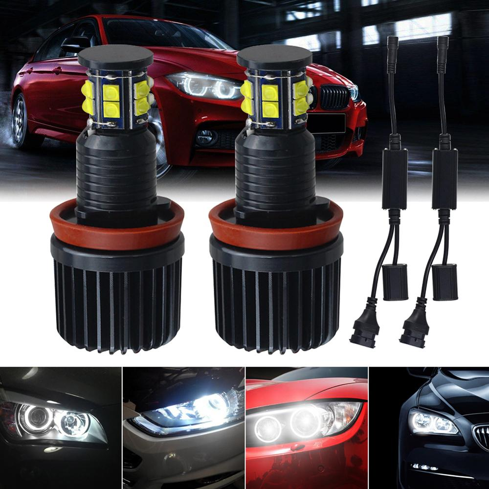 New Upgrade 360-degree 6-sided 120W H8 LED Angel Eyes Halo Ring Light Bulbs 6500K For BMW E92 E93 E63 E70 Lamps Wholesale CSV image