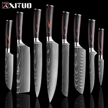 Knives-Set Slicing Santoku-Tool Chef Stainless-Steel Kitchen Japanese Damascus High-Carbon