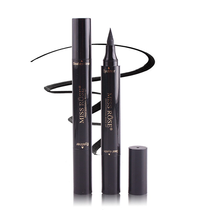 MISS ROSE Black Eyeliner Stamp Marker Pencil Double-ended Quick Dry Waterproof Liquid Eye Liner Pen Maquiagem Profissional TSLM2