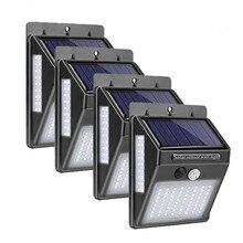 4 шт. 100 светодиодный светильник на солнечной батарее, уличный светильник с датчиком движения PIR, лампа на солнечной батарее, украшение сада, водонепроницаемый настенный светильник на солнечной батарее