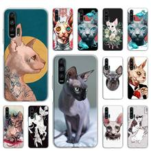 Case Cover for Huawei Y5 Y6 Y7 Y9 2019 Honor 9X 8X 10 20 8S 8C 20s Play 3e 3 Lite Pro Coque Falls Shell Tattoo Sphinx Cats art