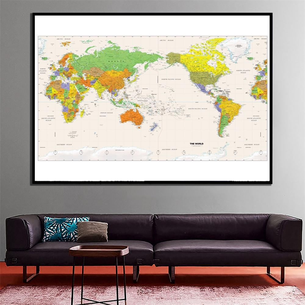 24x48 Inch Fine Canvas Home Wall Spray Painting HD The World Physical Map For Study Room Office Wall Decor