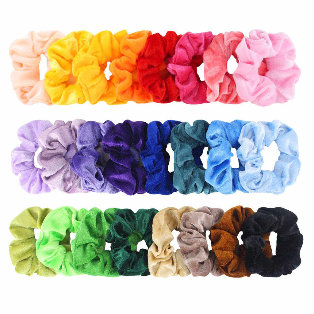 Women Headband Velvet Hair Scrunchies 24 Pack Hair Velvet Elastics Hair Ties Bright Colorful Bands 24 Colors #O
