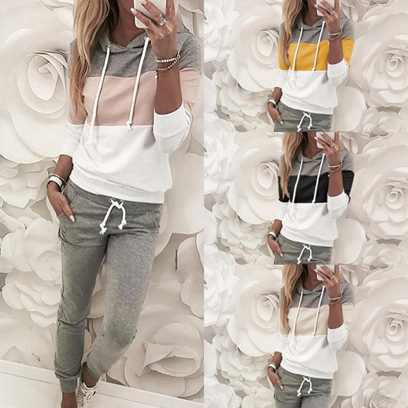 New Womens tracksuits SportsSuit Daily Tops and Pants Lady Striped Print Autumn Winter Women Clotheses Outfits Sport Sweatsuit