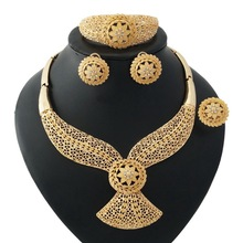 Fashion Bridal Jewelry Africa Beads Jewelry Set Dubai Gold Necklace Bracelet Earrings Crystal Women Wedding Jewelry цена в Москве и Питере