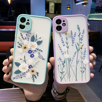iPhone 11 Pro XS Max X XR 7 8 Plus SE 2020 new mobile phone case blue soft-edged floral plant leather case for iPhone 11 Pro image