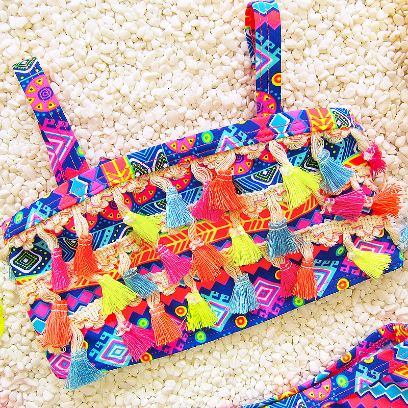 Infants Children Hot Springs Ethnic-Style Large Children South Korea Tassels Split Skirt Triangle GIRL'S Swimsuit