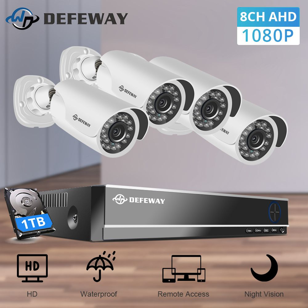 DEFEWAY IP Camera Security System 8CH DVR Kit Security Camera 1080P HD Video Surveillance Kit 4 Surveillance Camera CCTV System