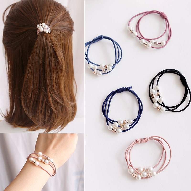 Women Pink Pearl Elastic Hair Bands Ponytail Holder Gum For Hair Scrunchie Rubber Bands Headbands Girls Hair Accessories