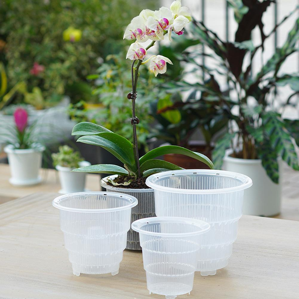 10/12/15cm Mesh Pot PP Clear Orchid Flower Container Planter Durable Fleshy Flower Pot With Holes Home Gardening Decoration 40P