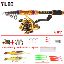 YLEO Telescopic Fishing Rods Mini Pole Super Hard Portable Carbon FiberGold rods1.8-3.6m