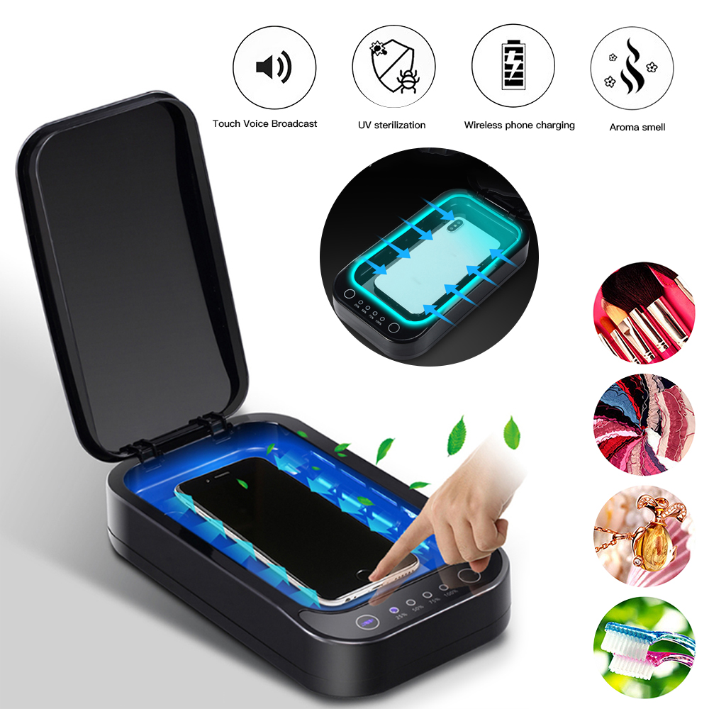 5V Double UV Lamp Phone Sterilizer Box Jewelry Phones Cleaner Multifunctional Personal Sanitizer Disinfection Box UV Lights