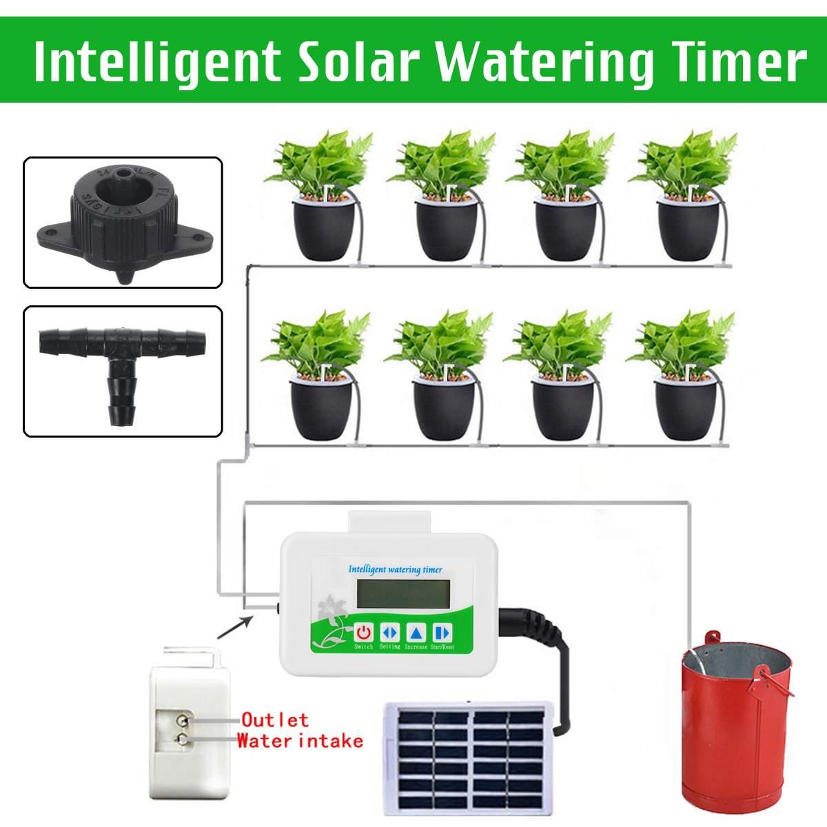 DIY интеллектуальное садовое автоматическое устройство орошения Солнечная энергия аккумуляторная горшечная установка Капельное орошение ...