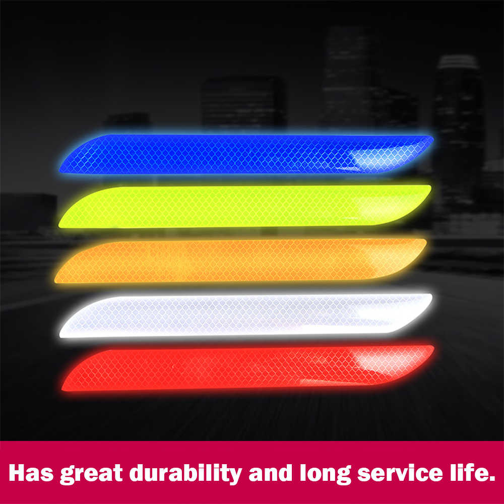 2PCS Universal Car Reflective Sticker Warning Safety Paster Water-Resistant Car Rear Bar Decorative Sticker for Safety Needs