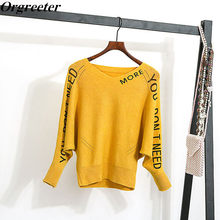 Knitwear bottoming Sweater Bat sleeve V-neck Fall Winter Loose Letter Print Long-sleeved Pullover Sweater Jumper Pull femme hiv(China)