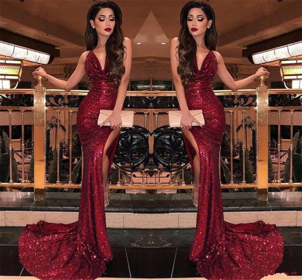 2019 Burgundy V Neck Sequins Mermaid Prom Dresses Robe De Soiree Sexy High Slits Vestido De Festa Formal Evening Prom Dress