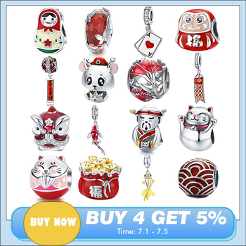 Chinese New Year Red DIY Beads BISAER 925 Sterling Silver lantern mouse Koi silver charms Beads fit Pandora Original Bracelet choruslove jack o lantern charms authentic 925 sterling silver pumpkin coach carriage beads fit pandora halloween diy bracelet