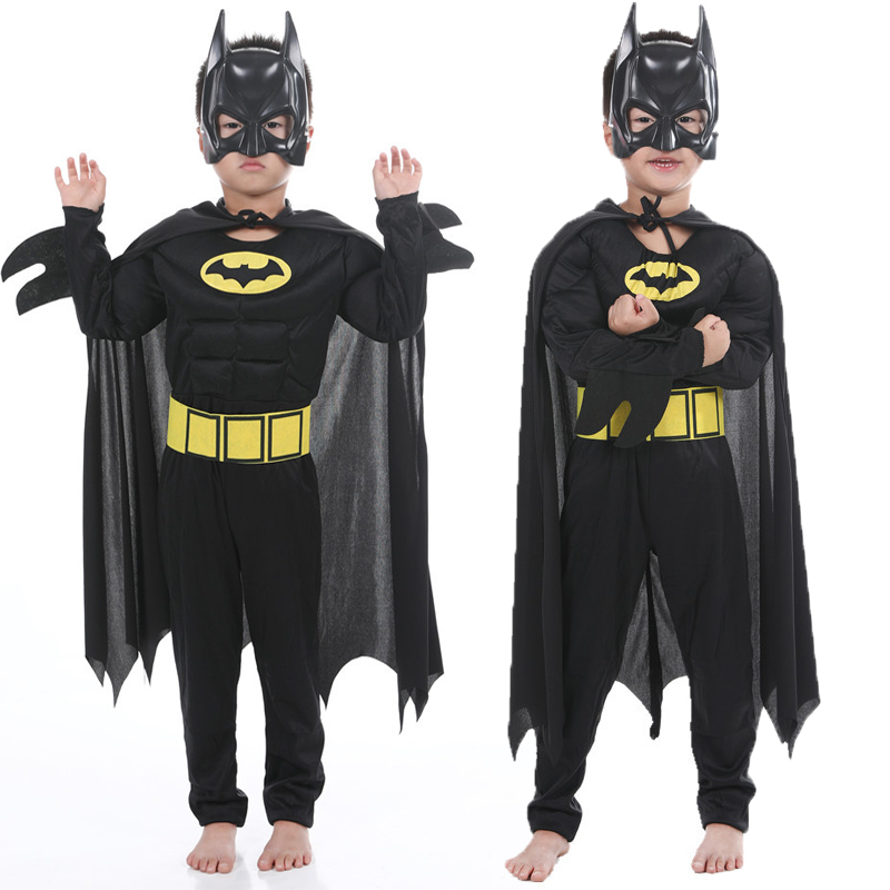 2019 Children Batman Vampire Muscle Costumes & Masks Cape Boy Superhero Cosplay Halloween Masquerade Party Superman Costume